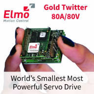 Elmo's new Gold Twitter 80A servo drive — breaking the boundaries once again.