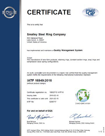 Smalley attains IATF 16949:2016 Certification Upgraded from ISO/TS 16949:2009