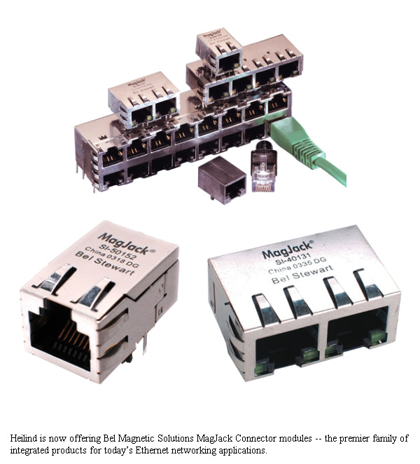Heilind Electronics Now Stocking Bel Magnetic Solutions MagJack Integrated Connector Modules