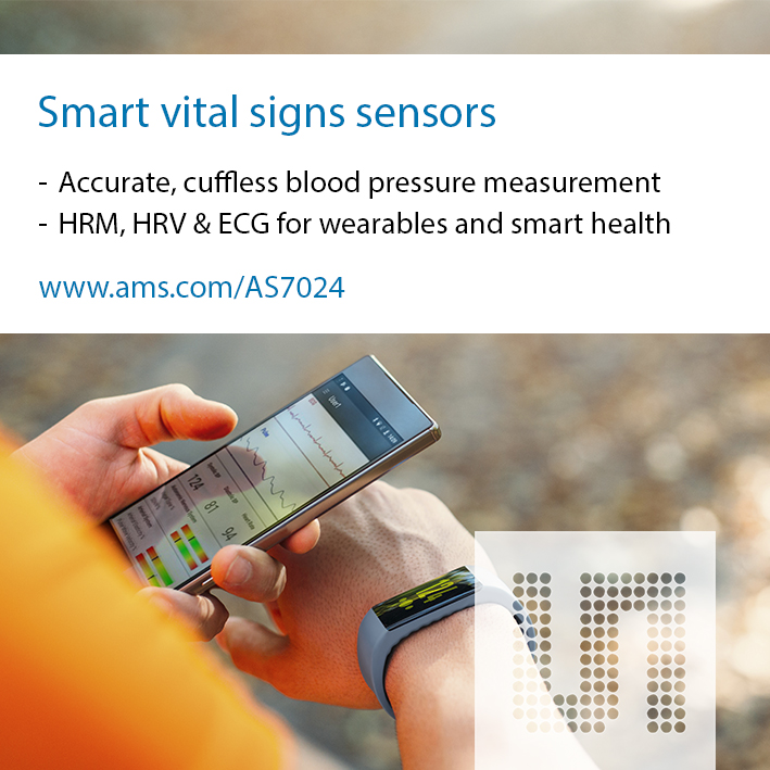ams introduces sensor reference design for blood pressure, vital signs for smart health and wearables