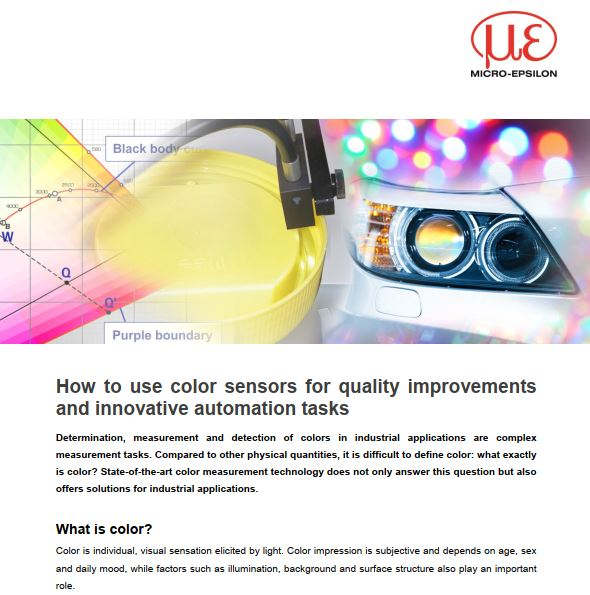 How to use color sensors for quality improvements  and innovative automation tasks