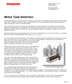 Motor Type Selection